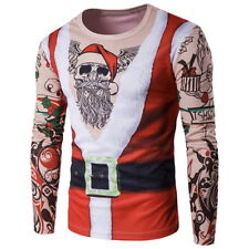 Male Mens 3D Christmas Santa Claus T-Shirt Sweater Long Sleeve Casual Tops HC
