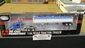 DCP#31896 MTB BLUE VOLVO VT800 SEMI DAY CAB TRUCK WILSON GRAIN TRAILER 1:64/IN