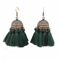Women Vintage Fabric Gift Tassel Earring Drop Dangle Eardrop Bohemian Jewelry
