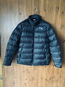 PUMA 90% DOWN FILL QUILTED COAT Black Puffer Short Jacket L / UK 14 - NEW