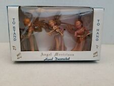 Vintage 3 Angel Musicians In Box, Christmas Ornaments, To Hang Or Stand Nos