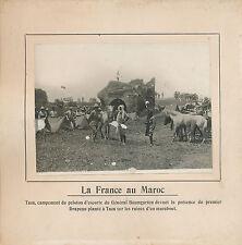 PHOTO PRESSE c.1910 -La France au Maroc Campement  Peloton d'Escorte à Taza- 224