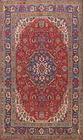 Vintage Geometric Tebriz Hand-knotted Area Rug Dining Room Oriental Carpet 7x10