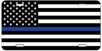Thin Blue Line for Support of Police American Flag Metal Novelty License Plate