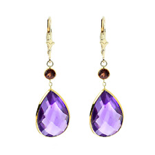 14K Yellow Gold Gemstone Earrings with Pear Shape Amethyst and Round Garnet