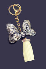 Jhonpeters Bow  White and Gold Tone Charm Keyring Keychain-JPKC990