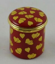Halcyon Days Enameled Box Red Box Gold Hearts Beautiful
