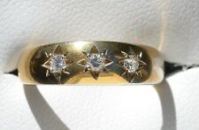 Vintage Yellow Gold & Cubic Zirconia 3 stone ring c1982