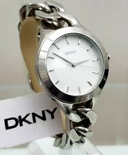 ** DKNY Ladies Watch Big Face Silver tone Chain Bracelet RRP£180 (500)