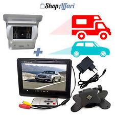 """Monitor 7"""" kit telecamera 18 led infrarossi retromarcia auto retrocamera camper"""