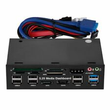 "5,25"" Media Dashboard Kartenleser USB 2.0 USB 3.0 20Pin e-SATA  Front Panel M1Y6"