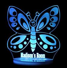 BUTTERFLY CUTE PERSONALISE NAME LED NIGHT LIGHT LAMP 13 COLOUR CHILDREN'S & BABY