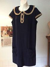 Next ~ navy blue jersey- mocha trim -cap sleeve smock thigh length dress  ~UK 12