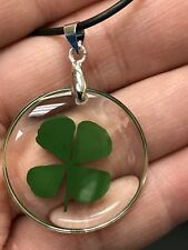 "Four Leaf Clover Good Luck Charm Clear Resin 18"" Rope Necklace D387"