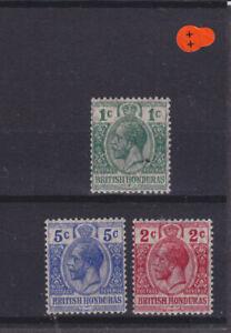 British Honduras KGV SG 111/113 Cat £8.35  Mounted Mint