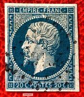 1853-60 France Stamp SC#16 20c Emperor Napoleon Imperf. Used CV:$190