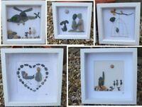 Cornish Sea Pebble Handmade Wall Art Beach Stone Glass Framed Unique Mothers day