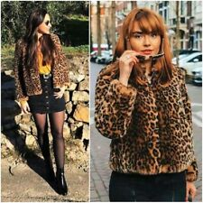 ZARA LEOPARD PRINT SOFT FAUX FUR JACKET WITH HIGH COLLAR SIZE M