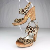 Alfani Animal Print Leather Cork Heel Sandals Shoes Size 6.5 M Womens Boogie