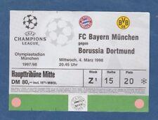 Orig.Ticket  Ch.League  1997/98  BAYERN MÜNCHEN -  BORUSSIA DORTMUND  1/4 FINALE