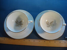 Footed Cups & Saucers in Wheat Lenox China Pattern R-442 / 2-cups & 2-saucers