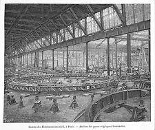 PARIS EXPOSITION UNIVERSELLE WORLD FAIR 1889 ETS CAIL ATELIER DES PONTS GRAVURE