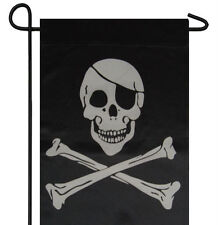 "Jolly Roger Pirate Eyepatch Patch Garden Banner/Flag 12""X18"" Sleeved Poly"