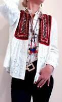 ZARA NEW WHITE CONTRASTING EMBROIDERED KIMONO JACKET SIZE S M