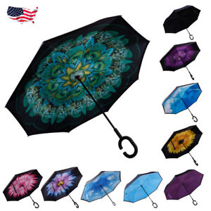 EvridWear Double Layer Inverted Umbrellas Reverse Folding Umbrella Windproof UV