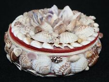 VINTAGE SEA SHELL ENCRUSTED JEWELRY/TRINKET BOX CHEST COTTAGE CHIC