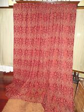 JCP PENNEY RED & GOLD FLORAL CHENILLE (PAIR) UNLINED CURTAIN PANELS 51 X 85