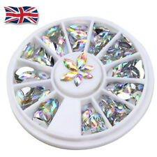 UK 3D Acrylic Nail Art Tips Decoration Crystal Rhinestone Pearl Alloy Gems Wheel