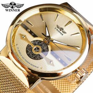 Winner Mens Golden Luxury Automatic Skeleton Self-Wind Mechanical Wrist Watches
