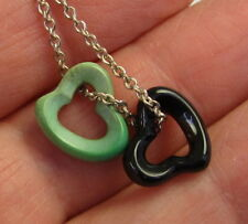TIFFANY & CO PERETTI Sterling Silver Black Jade Turquoise Open Heart Necklace