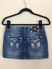 Miss Me Denim Blue Jean Mini Skirt 25 Sequin Angel Wing Pockets JP5082113