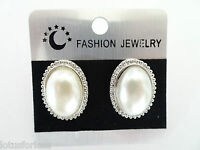 Oval Pearl Stud Earrings with beaded design edge 2.5 cms drop and pearl cabochon