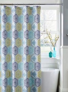 "J Queen New York NAPLES Shower Curtain 70 X 72"" NWT GEOMETRIC Pattern"