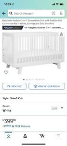 babyletto hudson 3 in 1 convertible crib in white.