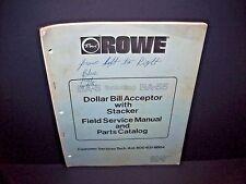 Rowe BA-5 & BA-55 Original 1981 Dollar Bill Change Machine Service Parts Manual