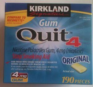 Kirkland Gum Quit 4mg Each Stop Smoking Aids Nicotine 190 pc