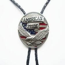 Western Cowboy Cowgirl Bolo Tie American Pride Eagle Oval Necklace also US Stock