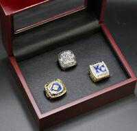 MLB 3pcs Kansas City Royal Championship Rings Display Set w Wooden Box