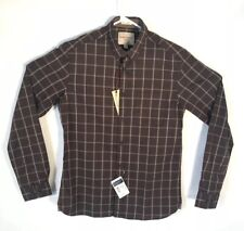 Indian Terrain Heritage Shirt Men Size S Slim Fit Brown Plaid Button Up