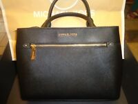 Michael Kors Black Saffiano Leather Hailee Medium Satchel Handbag Purse +wallet