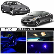 Blue Interior License Plate LED Lights Package Kit Fits 2013-2015 Honda Civic