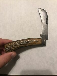 Early Rare Thomas Turner Stag Handle Pruning Folding Knife Sheffield Jackknife