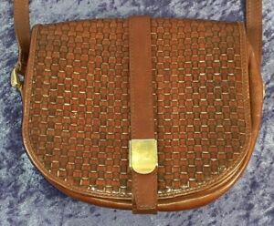 Cosci Women's Brown Leather Woven Crossbody / Shoulder Bag Hand Made in Italy