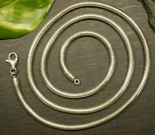 Geschmeidige 925 Sterling Silber Kette Rund Collier Schlangenkette Glatt Lang