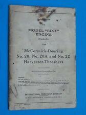 "Vintage 1938 McCormick-Deering Harvester-Threshers Engine Model ""Bd-1"" Manual"