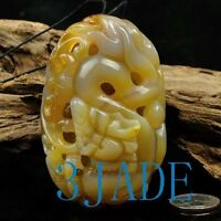 Hand Carved Natural Carnelian / Chalcedony / Agate Dragon Amulet / Paperweight